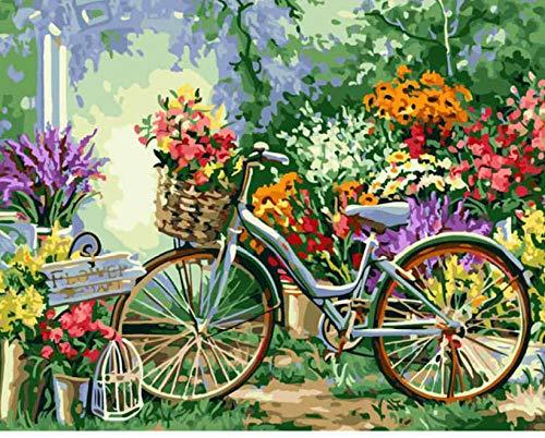 WXLZY DIY Malen nach Zahlen Fahrrad Ölgemälde für Kinder Erwachsene Anfänger16x20 Zoll Leinwanddruck Wandkunst Dekoration