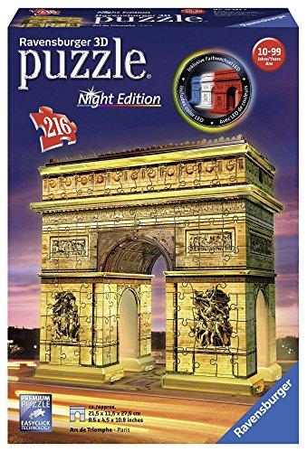 Ravensburger- Puzzle 3D Arc Triomphe Illuminé 216 pièces, 12522