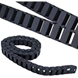 Drag Chain Inside Diameter of 10mm x 20mm Black Plastic Semi Closed Cable Wire Carrier Towline 1m Long for 3D Printer CNC Rou