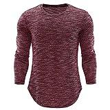 Herren Top,Shopaholic0709 Herren O-Neck beiläufige dünne Lange Hülsen-Hemd-Spitzen-Bluse Herren Slim Langarm T-Shirt Top Cotton Blend Mode Persönlichkeit
