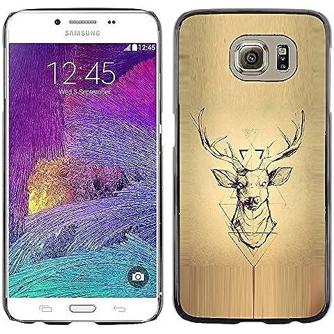 Deer Pergamino Madera astas de los ciervos- Metal de aluminio y de plástico duro Caja del teléfono - Negro - Samsung Galaxy
