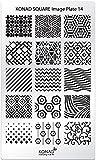 XL-STAMPING-SCHABLONE # KONAD SQUARE-14 geometrische Muster, Wellen, Ranken