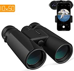 APEMAN Fernglas10x50 kompakte Ferngläser für Vogelbeobachtung, Wandern, Jagd, Sightseeing, Kleines Fernglas mit Nachtsicht-Funktion.FMC Linse, Tragetasche und Smartphone-Adapter