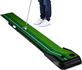 Balight Putting Green Indoor Outdoor Golf Auto with 3 Ball and 1 Putter Putting Trainer Mat Dual-Track ProEdge - Extra Long 10.5 Feet Mat - 2 Holes
