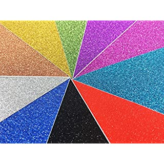 Misscrafts 10 Sheets A4 Glitter Self-Adhesive Craft Vinyl Art Sparkling Sign Sticker Gemstone Metallic Colour Diy Gift (Mixed Colors)