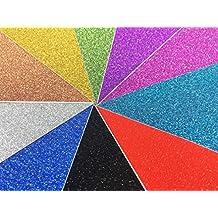 10 Hojas A4 Cartulinas Adhesivas de Colores Brillantes Cartulinas de Colores Papel Pegatina para Manualidades DIY Artcraft Trabajo Álbumes de Recortes Multicolor