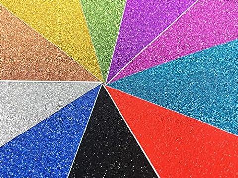 10 Blatt Klebefolie Glitzer Selbstklebende Dekofolie A4 Farbige Bastelfolie Glitter Vinyl Aufkleber für DIY Handwerk Scrapbooking (Glitter Blätter)