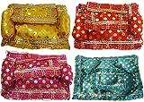 #6: Salvus App Solutions Beautifully Handmade Multicolor Golden Dots Aasan for Laddu Gopal Asan-Set of 4