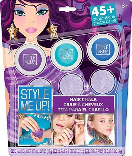Haar-Kreide, schonend Haare färben, ganz einfach auswaschbar, 3 Dosen im Set inkl. Schwämmchen, in Blau