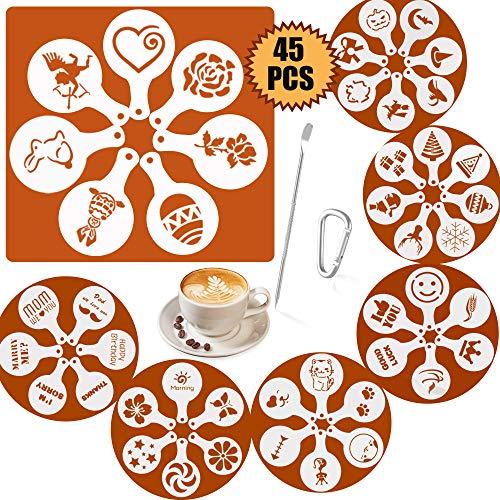 SOSMAR 45 Muster Cappuccino Kaffee Dekorieren Schablonen - für Weihnachten/Halloween/Ostern/Liebe/Tiere/Kurze Wünsche Sprüche - Schaum Latte Art Barista Dekoration Vorlage