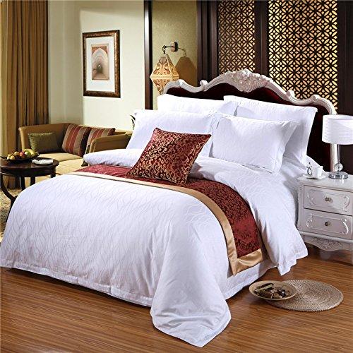 Bettbezug Sets Pure Color Satin Verschlüsselung Jacquard Vier Sets Bettwäsche Quilt atmungsaktiv Hotel Betten, Satin, Water ripples, Small-double -