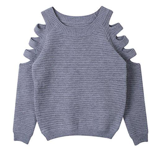 Minetom Damen Schulterfrei Langarm Crewneck Sweater Tops Hoodie Kurz Jumper Top Pullover Grau DE 34