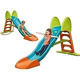 FEBER - Super Mega Slide, Tobogán de colores luminosos rampa curva y conexión de agua, resistente y seguro, con pasamanos y e