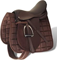 """Anself Set Sella Cavallo 17,5"""" in pelle naturale Marrone 12 cm 5-in-1"""