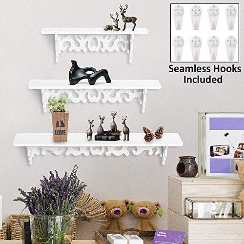 Gadget Zone UK 3Pcs White Wooden Wall Mounted Shelf Display Chic Filigree Floating Storage Unit