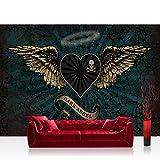 Vlies Fototapete 200x140 cm PREMIUM PLUS Wand Foto Tapete Wand Bild Vliestapete - Illustrationen Tapete Alchemy - Dark Angel Flügel Totenkopf Tropfen Dark Angel Herz grün - no. 709