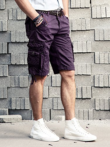 Herren Cargo Shorts Cargohose kurze Hose Loose Fit aus Baumwolle Hosentasche Overall Purple