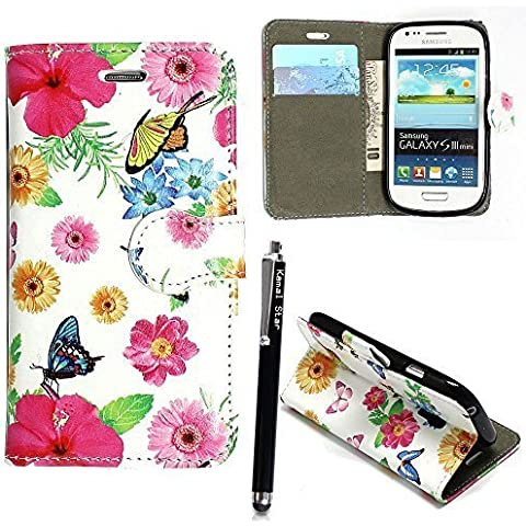 Funda para Samsung Galaxy S3 mini i8190, Kamal Star® Funda Cuero PU Billetera Folio Carcasa, [Stylus Libre] Piel Case Cover con Soporte Plegable para Samsung Galaxy S3 MINI I8190 (Butterfly Style 01 Book)