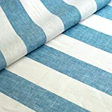 Varvara Home Leinen Stoff - Leinenstoff - Deko Stoff - gestreift - B 50 cm - Farbe weiß blau