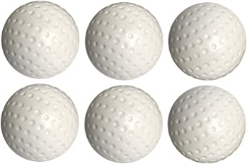 SanR White Pu Turf Hockey & Cricket Practice Ball Pack of 6