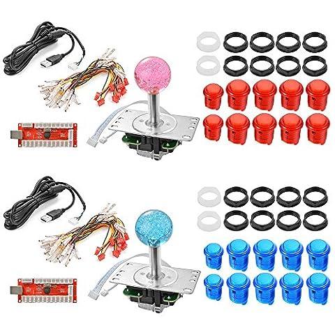 XCSOURCE®2 Spieler Zero Delay Arcade Spiel USB Encoder PC LED Joystick DIY Kit für Mame Jamma & andere Kampfspiele AC607