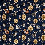 Stoff Nano Softshell Sheldon Waldtiere dunkelblau - 50cm x