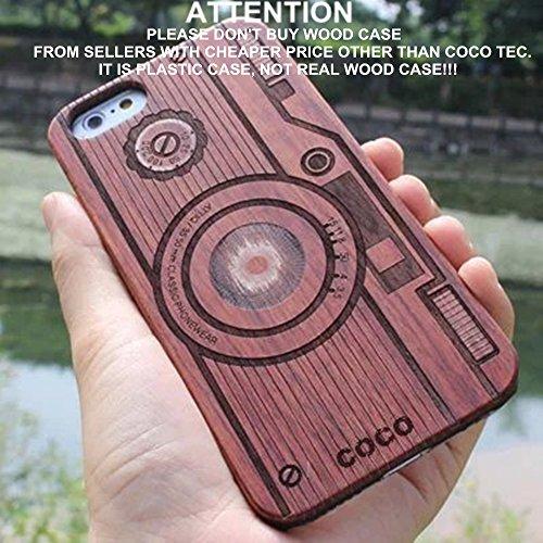 Holz iPhone 6/6S Fall-Coco Laser Carving markiert Holz Fall Schutzhülle mit robustem Polycarbonat Bumper Slim, die Schutzhülle für Apple iPhone 6S, iPhone 6(11,9cm), Camera-Wood