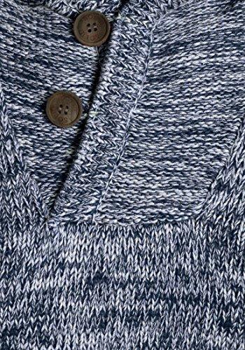 SOLID Praktik Herren Kapuzenpullover Strickhoodie Cross-Over-Kragen aus 100% Baumwolle Insignia Blue (1991)