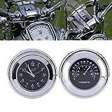 CALISTOUK Universal Lot de 2 compteurs de guidon de moto-Indicateur de l'heure et de la température/en aluminium/étanche, résistant aux choc,noir/blanc