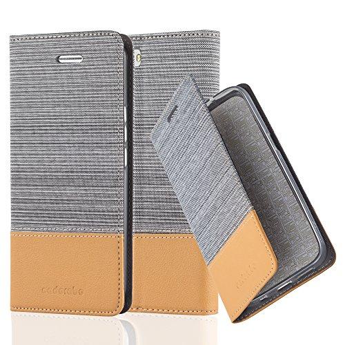 Preisvergleich Produktbild Cadorabo Hülle für Honor 6 - Hülle in HELL GRAU BRAUN – Handyhülle mit Standfunktion und Kartenfach im Stoff Design - Case Cover Schutzhülle Etui Tasche Book