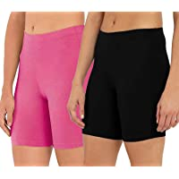 OUTFLITS Ladies Cotton Cycling Shorts Pack of 2