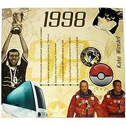 RetroCo 1998 Geburtstags-Geschenke - 1998 Chart Hits Compilation CD und 1998 Geburtstagskarte