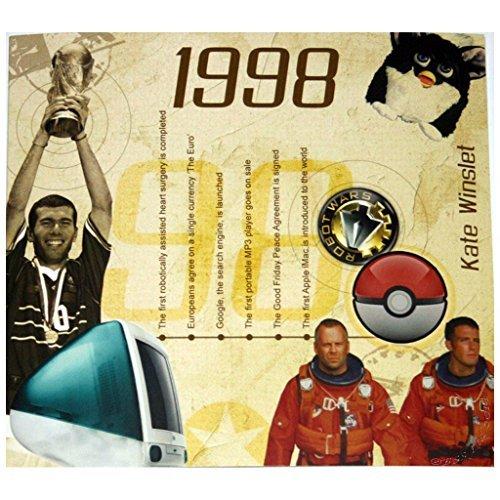 Preisvergleich Produktbild RetroCo 1998 Geburtstags-Geschenke - 1998 Chart Hits Compilation CD und 1998 Geburtstagskarte
