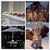 Cadena solar de luces LED Salcar de 12 metros, 100 LEDs de decoración, Solar Luz Cadena luminaria para navidad, fiestas, celebraciones (luz cálida)