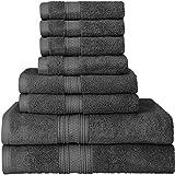 Juego de toallas Premium 700 GSM de 8 piezas; 2 toallas de baño, 2 toallas de mano y 4 paños de ducha - Algodón - Lavable a máquina, calidad del hotel, súper suave y altamente absorbente con toallas Utopia (gris)