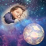 Sopear Luce notturna stellata, proiettore per cielo stellato, rotazione di 360 gradi, luminosità regolabile, lampada a LED con 5 vetrini per camera da letto, soggiorno, decorazione per feste