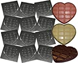 Heart Shaped Chocolate BAR Moulds Reusable Plastic Chocolate MOLDS Valentine's Mother's Father's Day Chocolates x 12