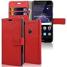 Huawei P8 Lite 2017 Funda, echoTREE Litchi Grano Caja del Teléfono ( 100% Cuero de Piel Genuina ) para Huawei P8 Lite 2017 Funda, Cierre Magnético Billetera con Tapa para Tarjetas + 3 Protector de Pantalla, Rojo 5.2 Pulgadas
