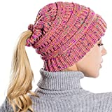 Mütze DOLDOA Damen Winter Strickmütze mit Loch für Pferdeschwanz Gefüttert
