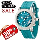 Burberry Unisex Men Women Watch Sports SWISS LUXURY Round Stainless Steel Chronograph Green Date Dial Teal Silicon/Rubber Band 40mm BU7764