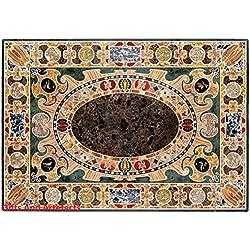 """60""""x 36"""" Barra de Rectángulo de mármol negro tablero de la mesa incrustaciones diseño único"""
