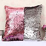 #6: Mahalaxmi Craft New Design Sequin Decorative Pillows Cover For Home & Decor Set Of 1 (16X16) (Baby Pink::Silver)