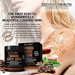 Gosmarthealth Cosmeceuticals Body and Face NATURAL DEEP SKIN EXFOLIATOR by Gosmarthealth. Rich Arabica Coffee Scrub, deep skin detox for Cleansing pores, Cellulite, Stretch marks and Acne.
