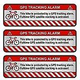 Finest-Folia 9x GPS Aufkleber Fahrrad Motorrad Auto Alarm Warnung Anti Diebstahl Sticker Tracker gesichert (Aluminium Schliff Silber, Fahrrad)