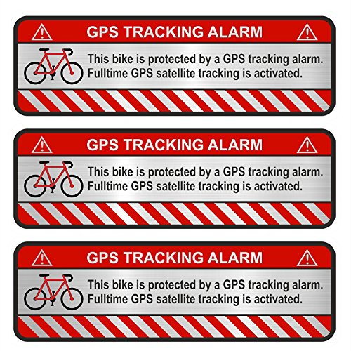 Finest-Folia 3x GPS Aufkleber Fahrrad Motorrad Auto Alarm Warnung Anti Diebstahl Sticker Tracker gesichert (Aluminium Schliff Silber, Fahrrad)