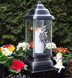 Grablampe Rose Ornament Silber 34,0cm Grabkerze Grablicht Grablaterne Grabschmuck Grableuchte...
