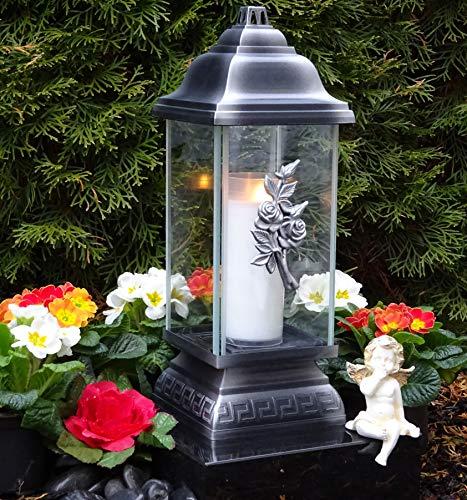 ♥ Grablampe Rose Ornament Silber 34,0cm Grabkerze Grablicht Grablaterne Grabschmuck Grableuchte Laterne Kerze Lampe Licht