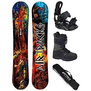 Airtracks Snowboard Komplett Set – NO Fears Carbon Snowboard Wide Rocker + Snowboard Bindung Star + Snowboardboots + Sb Bag / 152 157 162 cm