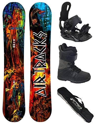 AIRTRACKS Snowboard Set / Board No Fears Carbon Wide Hybrid Rocker 152 + Snowboard Bindung Star + Boots Master QL 42 + Sb Bag