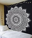 """Esclusivo """"nero bianco ombre Tapestry by Raajsee"""" ombre biancheria da letto, motivo: Mandala, regina, multi colori indiana mandala Wall Art hippie Wall Hanging Bohemian copriletto"""